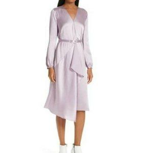 Lewit Hammered Satin Belted Faux Wrap Dress Purp 6